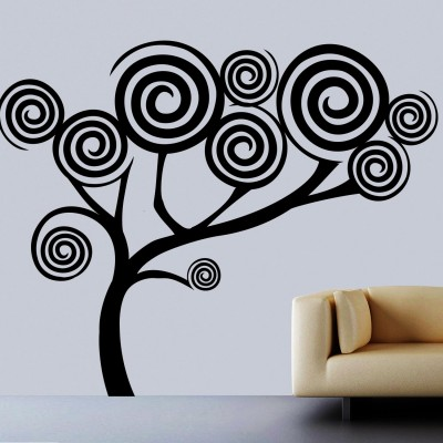 Spiral Tree Wall Sticker Decal-Small-Black