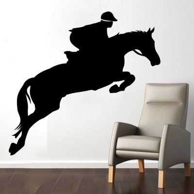 Horse Riding Wall Sticker Decal-Small-Black