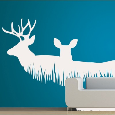Deer Couple Wall Sticker Decal-Small-White