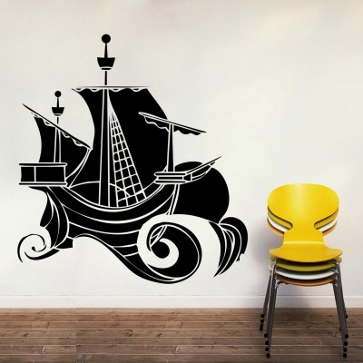 Sailboat Wall Sticker Decal-Small-Black