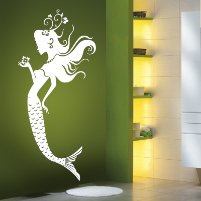 The Mermaid Wall Sticker Decal-Small-White