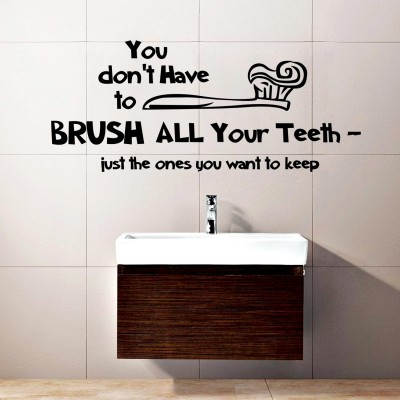 Brush Your Teeth Wall Sticker Decal-Small-Black