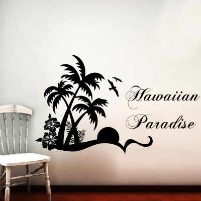 Hawaiian Paradise Wall Sticker Decal-Small-Black