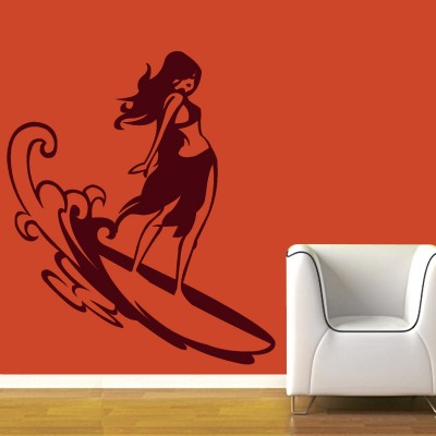 Surfing Girl Wall Sticker Decal-Small-Burgundy