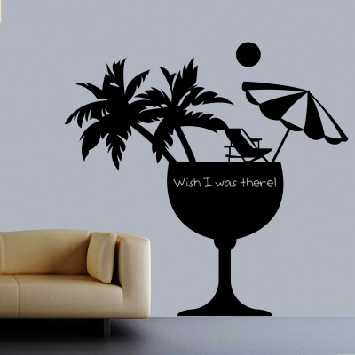 Wish I Was There Wall Sticker Decal-Small-Black
