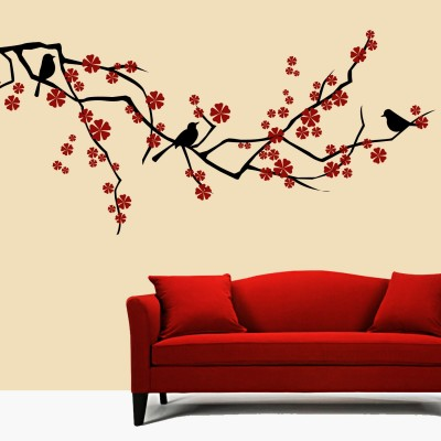 Birds With Flowers Wall Sticker Decal-Small