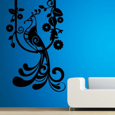 Peacock on Branch Wall Sticker Decal-Small-Black