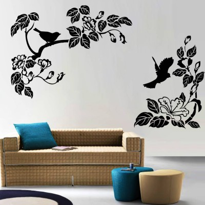 Blooming Birds Wall Sticker Decal-Small-Black