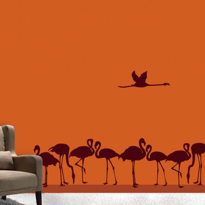 Flamingo Family Wall Sticker Decal-Small-Burgundy