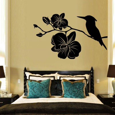 Kingfisher With Flowers Wall Sticker Decal-Small-Black