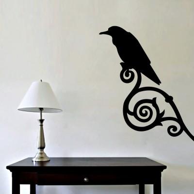 Winter Bird Wall Sticker Decal-Small-Black