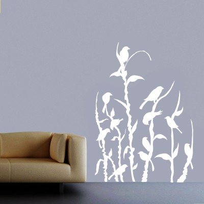 Birds In Field Wall Sticker Decal-Small-White