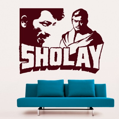 Sholay Wall Sticker Decal-Small-Burgundy