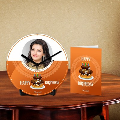 Personalized Happy Birthday Name 3 Desk Clock-With Card