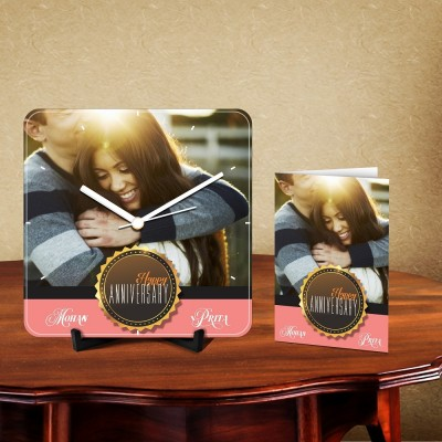 Personalized Happy Anniversary Name 2 Desk Clock-With Card