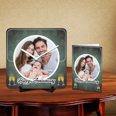 Personalized Happy Anniversary Desk Clock-With Card