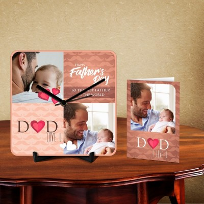 Personalized Best Father Desk Clock-With Card