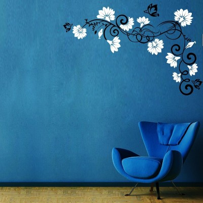 Vines And Flowers 1 Wall Sticker Decal-Small-Black & White