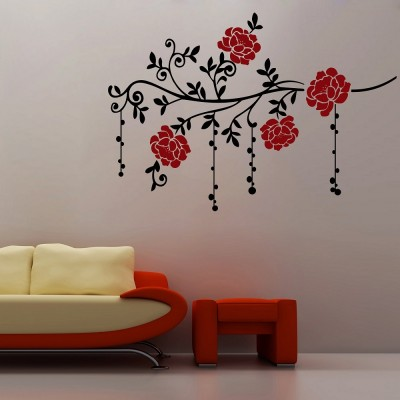 Vines And Flowers 4 Wall Sticker Decal-Small-Black & Red