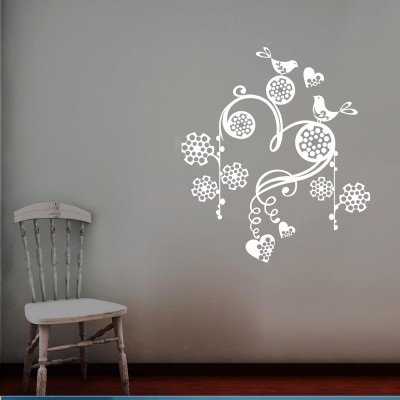 Birds On Chimes Wall Sticker Decal-Small-White