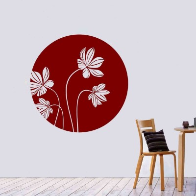 Moon Flower Wall Sticker Decal-Small-Burgundy