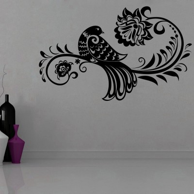 Ethnic Bird 2 Wall Sticker Decal-Small-Black