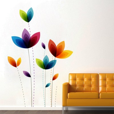 Colorful Flowers Wall Sticker Decal-Small