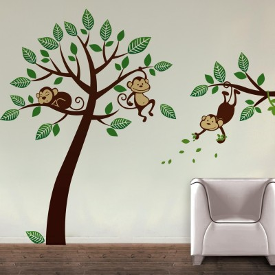 Monkeys On Branch Wall Sticker Decal-Small