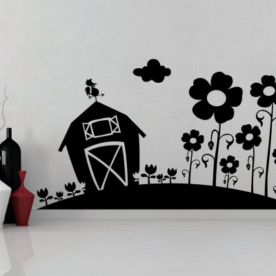 Farm House Wall Sticker Decal-Small-Black