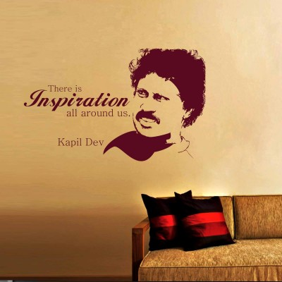 Kapil Dev Wall Sticker Decal-Small-Burgundy