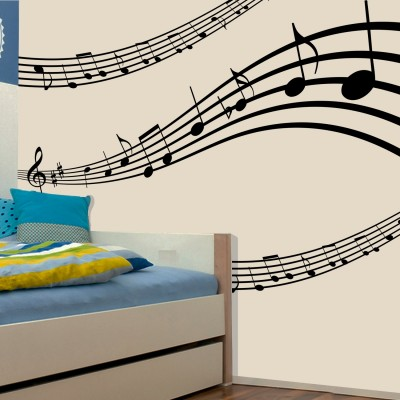Musical Strings Wall Sticker Decal-Small-Black
