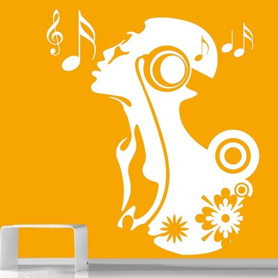 Singing Girl Wall Sticker Decal-Small-White