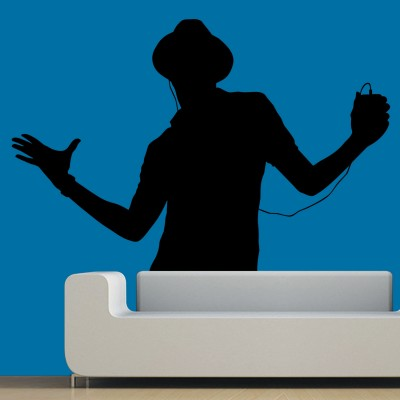 Boy Dancing To The Tune Wall Sticker Decal-Small-Black