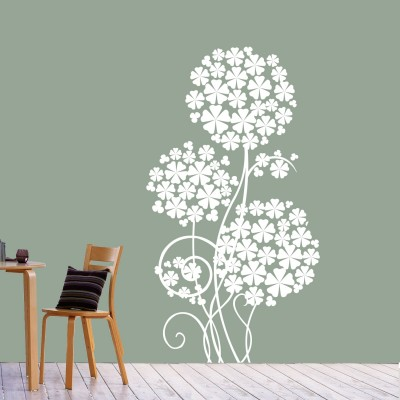 Flower Tree Wall Sticker Decal-Small-White