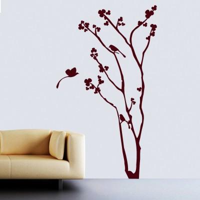 Floral Tree N Birds Wall Sticker Decal-Small-Burgundy