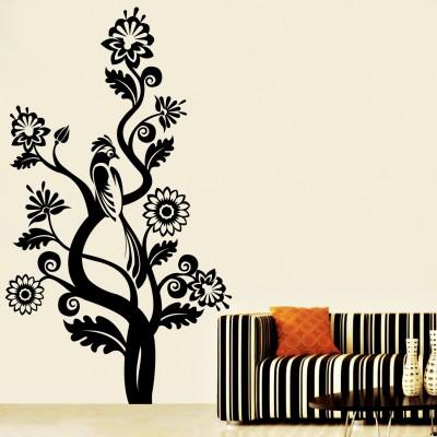 Cuckoo On Tree Wall Sticker Decal-Small-Black