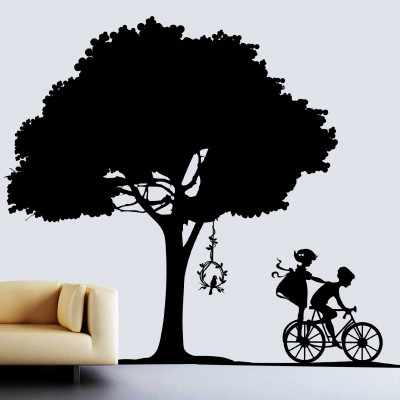 Kids Playing Under Tree Wall Sticker Decal-Small-Black