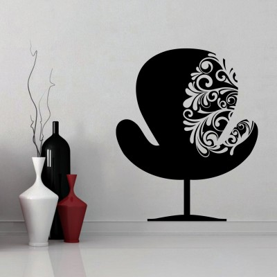 Chair With Swirls Wall Sticker Decal-Small-Black
