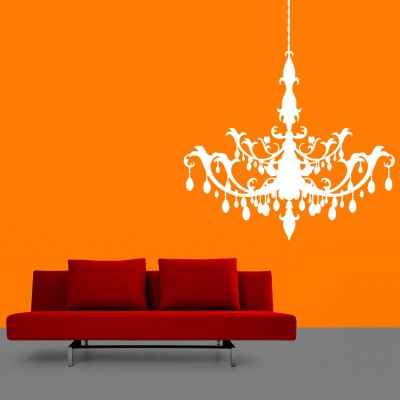 Chandelier Wall Sticker Decal-Small-White
