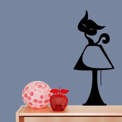 Cat On Lamp Wall Sticker Decal-Small-Black