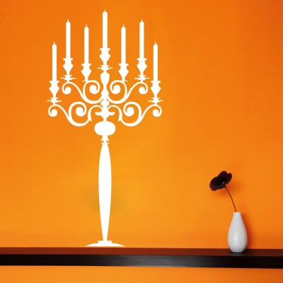 Candle Stand Wall Sticker Decal-Small-White