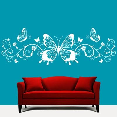 Butterflies N Swirls Wall Sticker Decal-Small-White