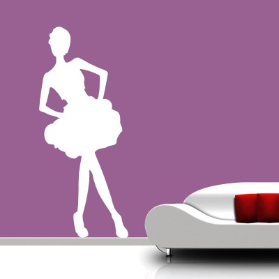 Dancing Girl Wall Sticker Decal-Small-White