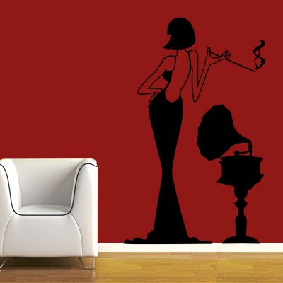 Lady With Gramophone Wall Sticker Decal-Small-Black