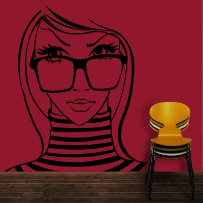 Lady With Glasses Wall Sticker Decal-Small-Black