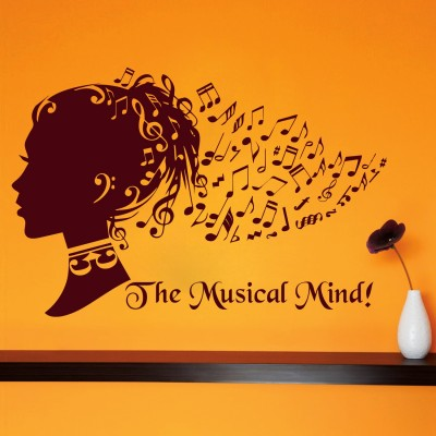 The Musical Mind Wall Sticker Decal-Small-Burgundy