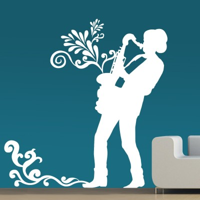 Street Music Wall Sticker Decal-Small-White