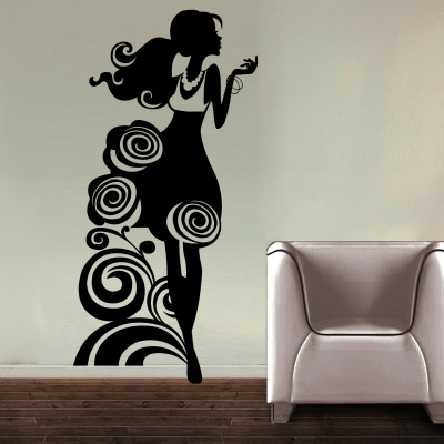 Rosy Girl Wall Sticker Decal-Small-Black