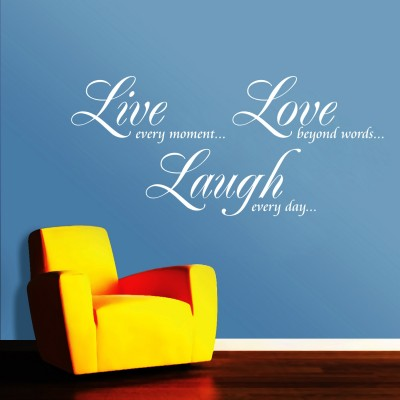 Live Love Laugh Wall Sticker Decal-Small-White