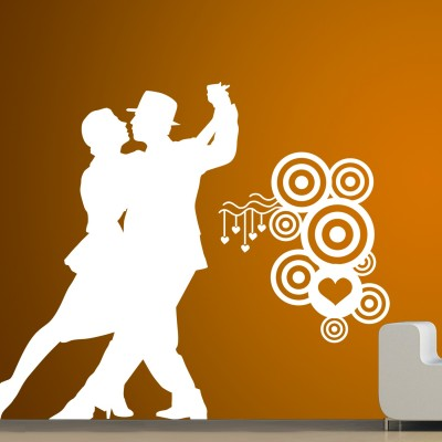 Dancing Couple 2 Wall Sticker Decal-Small-White